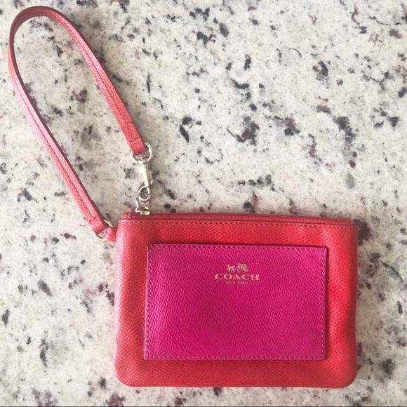 COACH Color Block Red/ Pink Leather Wristlet
